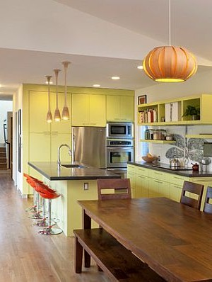 Green lively painted kitchen cabinets