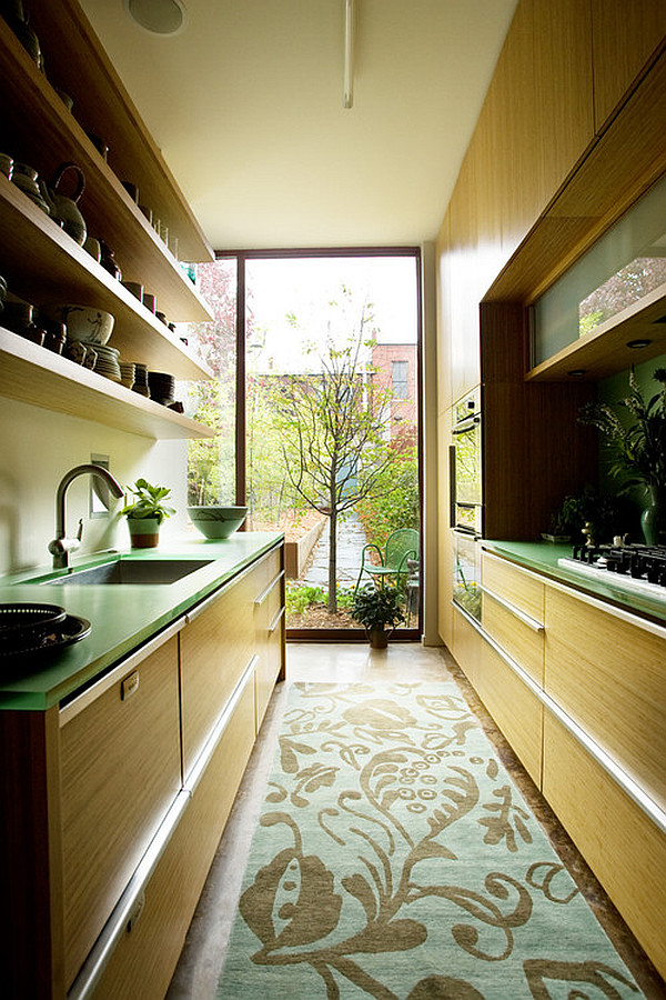 green themed galley kitchen