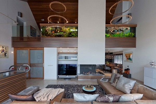 huge living room aquarium Beautiful Dutch Villa Steals The Show With Giant Aquarium and Lively Colors