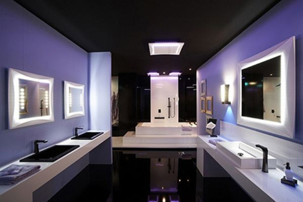 LED lights illuminate this luxurious bathroom design.