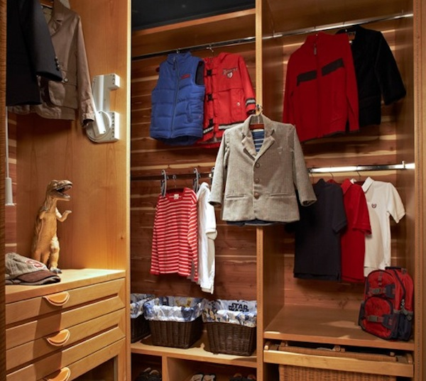 kids closet winter storage idea