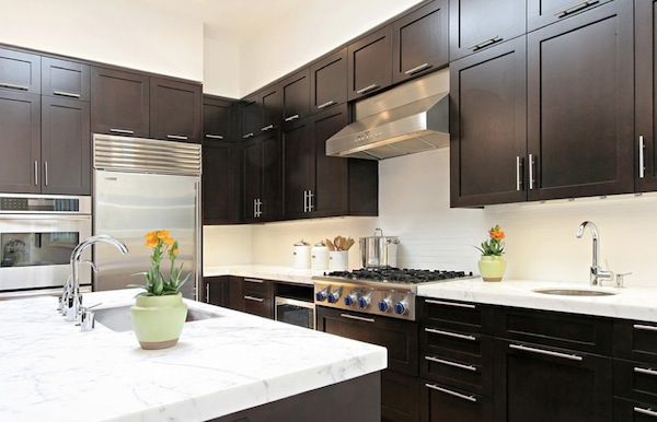 kitchen details dark cabinets