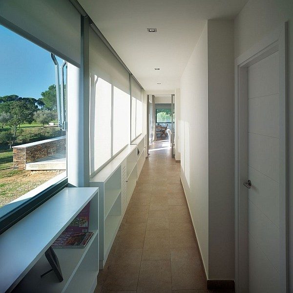 long hallway connecting the house
