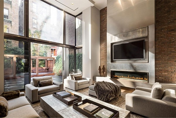 luxury NYC home cozy living room Expansive Home in New York City Adds Modern Renovation to Timeless Tradition