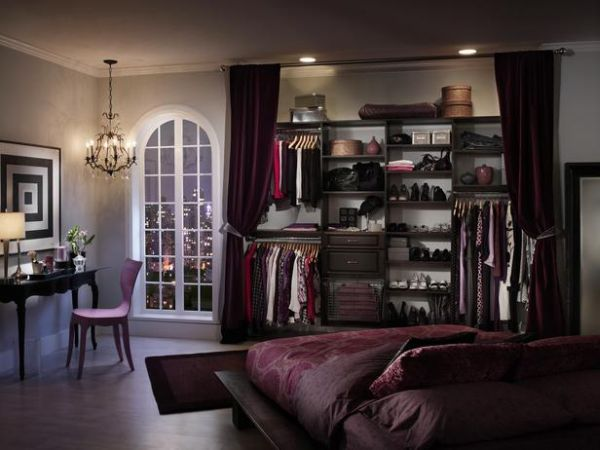 This stunning closet uses a curtain to conceal it.