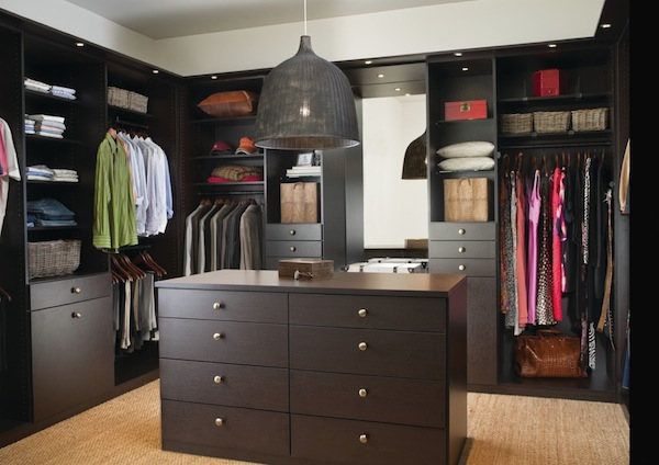 mens womens closet dark wood Winter Closet Organization Ideas for the Family