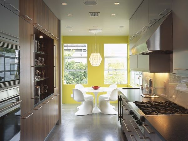 Modern galley style kitchen in a small space