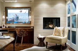 Modern guestroom design with small fireplace