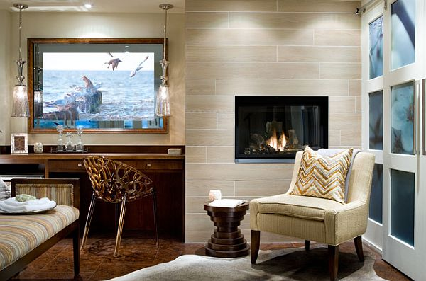 view in gallery modern guestroom design with small fireplace - Modern Guest Room Ideas