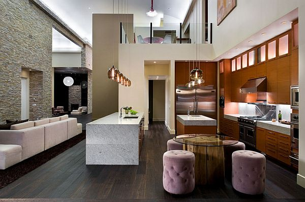 Modern kitchen with glass round table on wood