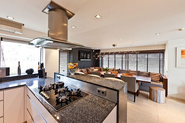 open space kitchen and dining area