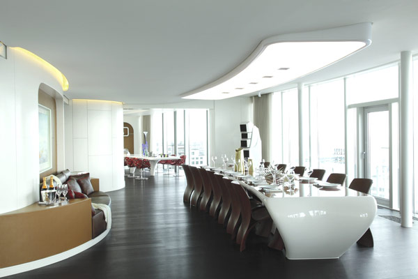penthouse stylish dining table Refined Russian Penthouse Amalgamates Extravagance and Elegance
