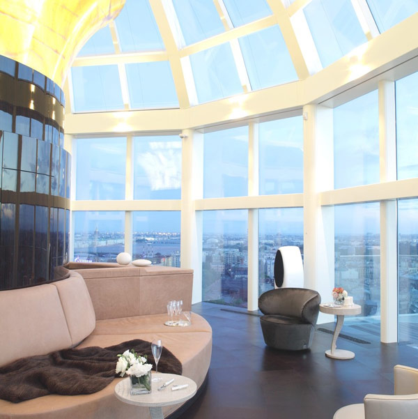russian penthouse with skylight