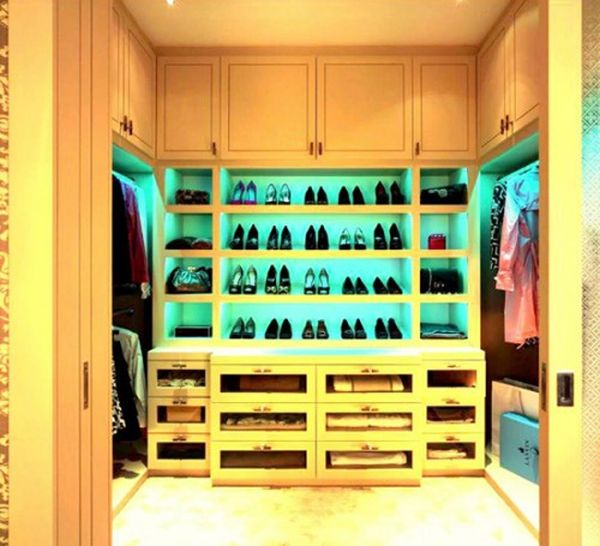 This shoe display serves as a great focal point in this closet.