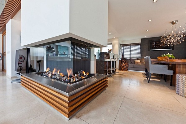 stylish dining room with firepit