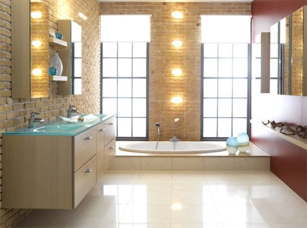 A contemporary-style bathroom with distinguished light fixtures.