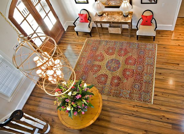 Two-story foyer with a Spring mood