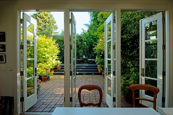 Ultra-chic french doors leading to the courtyard
