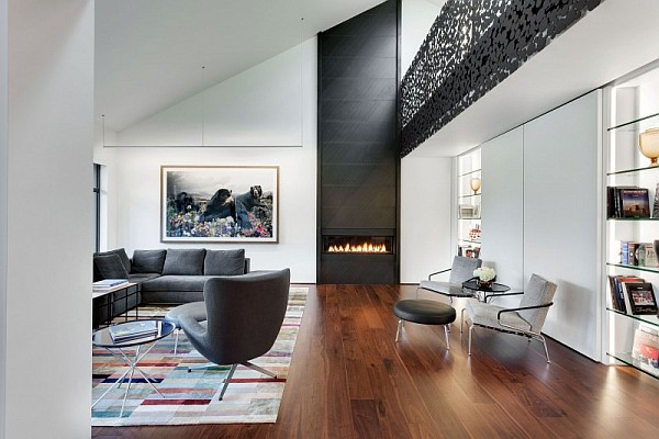 Classy contemporary residence with cool accents of grey - Ultra modern living room ...