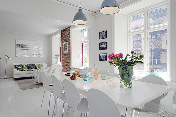 white elegant Swedish apartment design