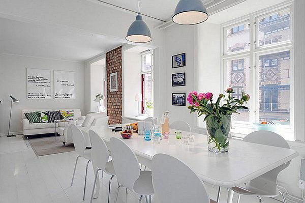 white elegant Swedish apartment design