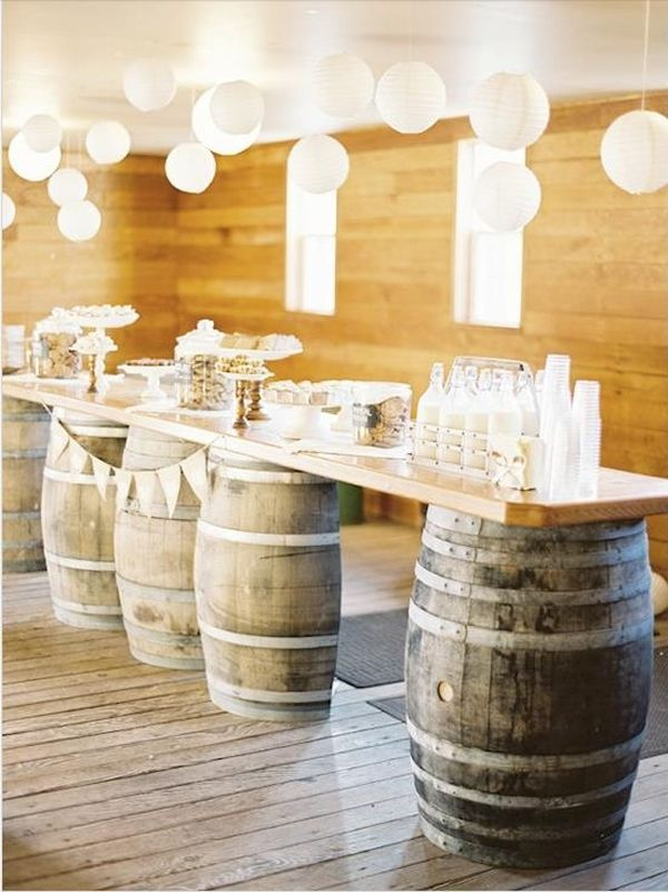 wine barrels as a table