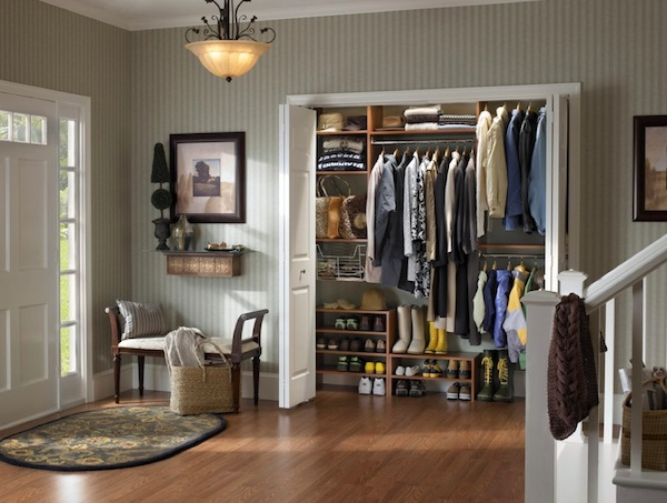 winter closet near front door Winter Closet Organization Ideas for the Family