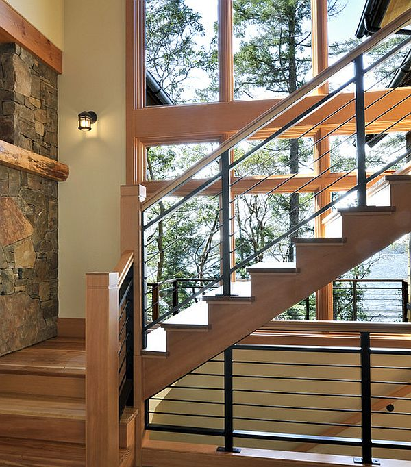 Stylish wood and iron railing