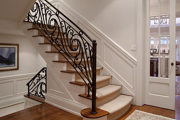 Wrought iron stairs railing design