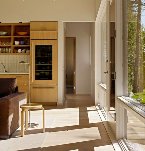 A glass door refrigerator works well even in a modern living room!