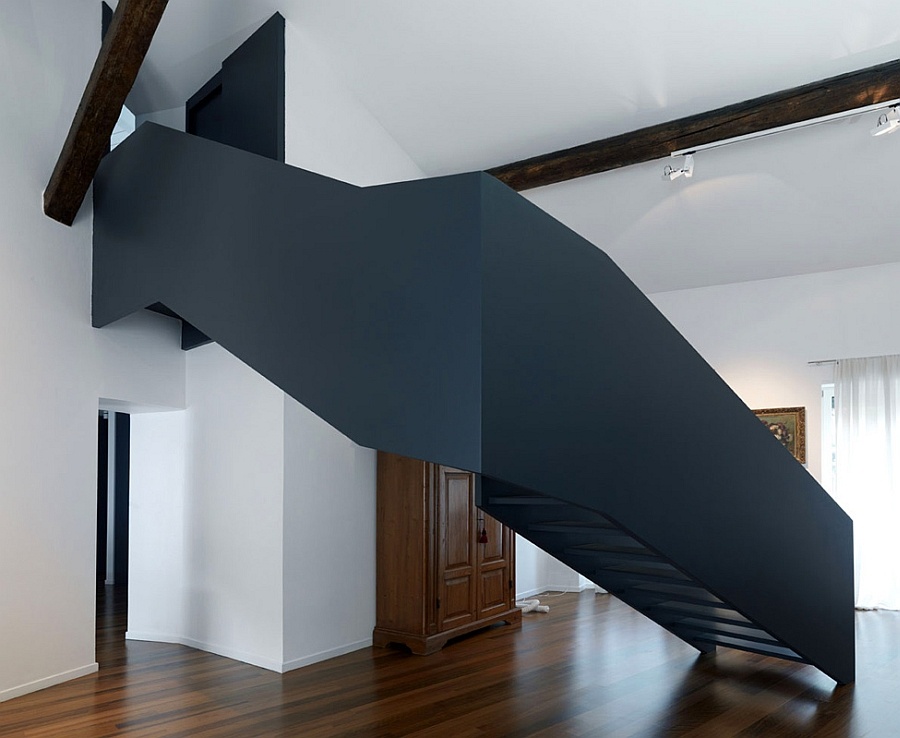 A trendy blue-gray staircase with contemporary minimalism