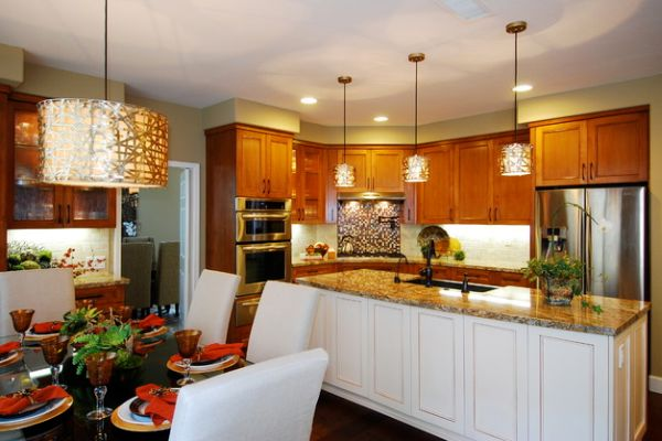 View in gallery Alita Champagne Pendants over the kitchen island look more  like fascinating works of art!