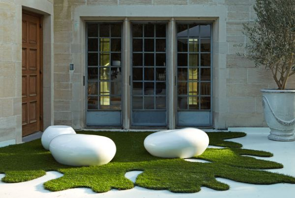 Art installations from a sculpture garden that fit well in a natural setting as well