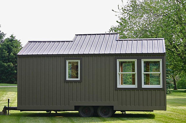 Back exterior shot of tiny house on wheels