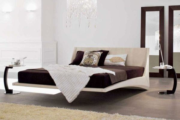 Beautiful floating bed offers a sophisticated look