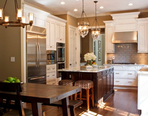 Awesome View In Gallery Beautifully Illuminated Kitchen Sports A Couple Of Cool Pendant  Lights Nice Ideas