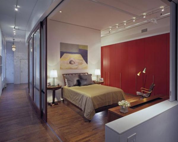 ... Bedroom With Sliding Glass Doors Offers Privacy When Needed