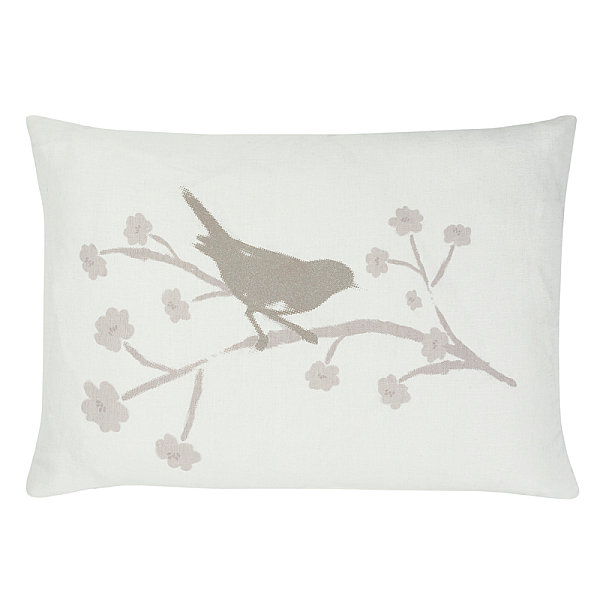 Bird motif cushion