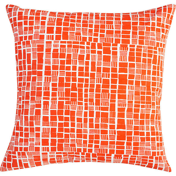 Block print pillow in bright orange