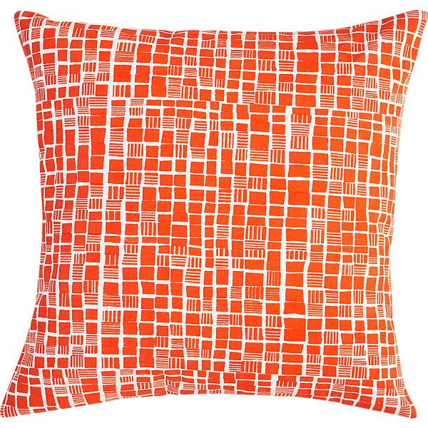 Block print pillow in bright orange