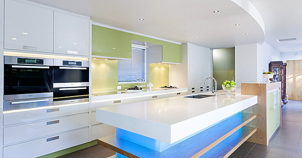 Blue neon lighting in a modern kitchen