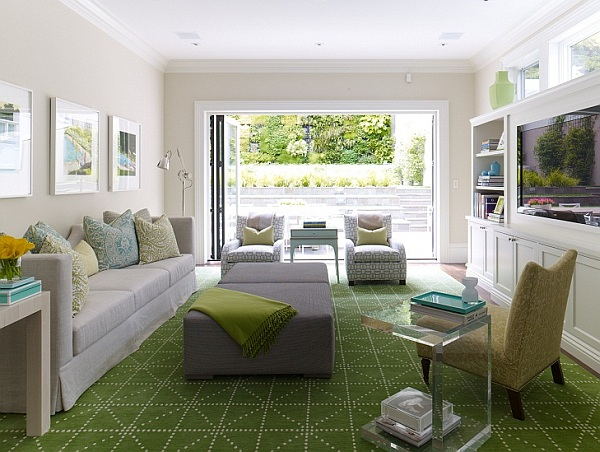 Bright living room with green rug