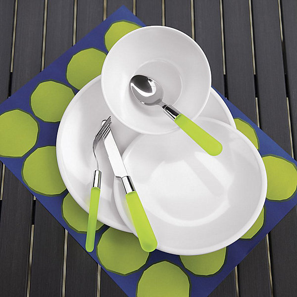 Casual flatware with green handles