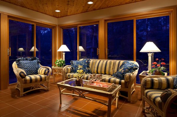 Classic interiors that also employ sliding glass doors to accentuate their beauty