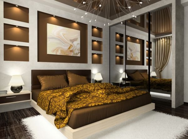 Classy contemporary bedroom in gloden brown hues with a floating bed at its heart