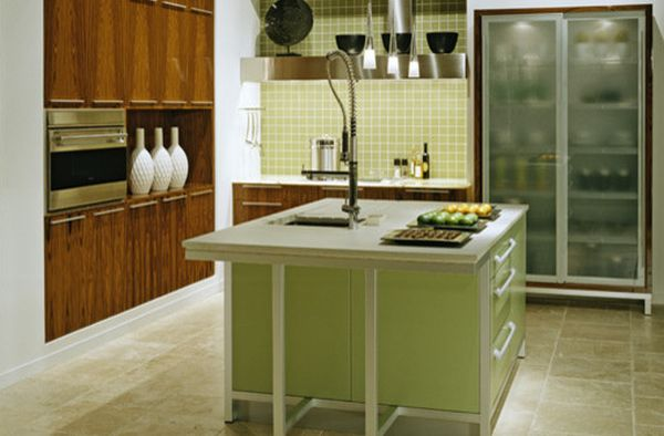 Classy modern kitchen in green with glass door refrigerator that steals the spotlight Glass Door Refrigerators: Ideas for a Transparently Brilliant Home