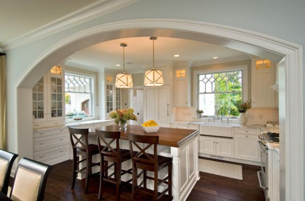 Compact kitchen island with two large Grosvenor One-Light Pendants