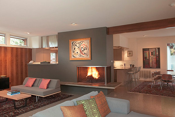 Back to sleek corner fireplaces with modern flair for Three way fireplace