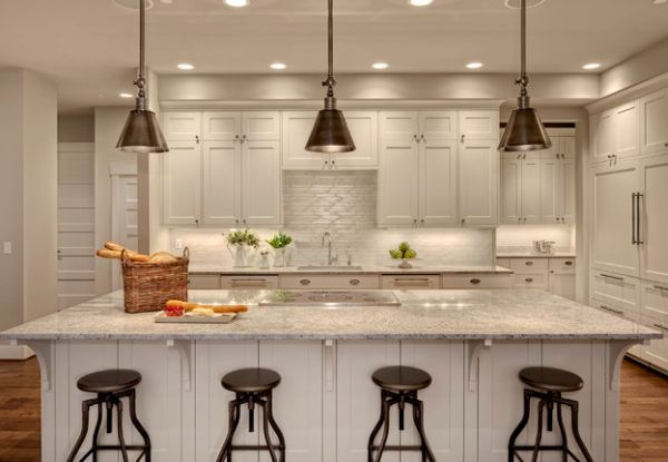 Contemporary Kitchen With Darien Metal Pendants Over The