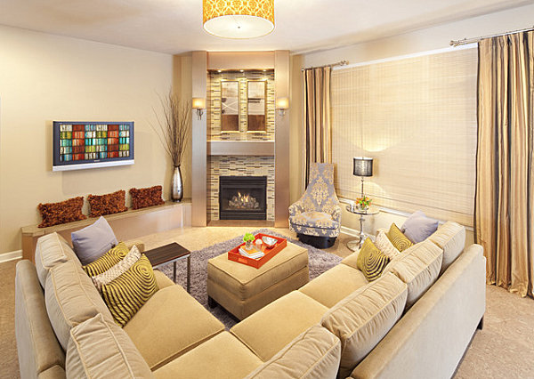 view in gallery corner fireplace with mirrors - Corner Fireplace Design Ideas